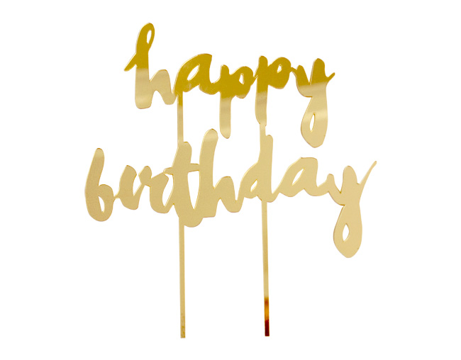 HARLOW & GREY # Happy Birthday Gold Mirrored Cake Topper